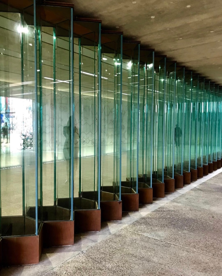 Hackney Wick Station Daytime View of Molecular Glass Wall Installation by Collaborating Artist Wendy Hardie 2018