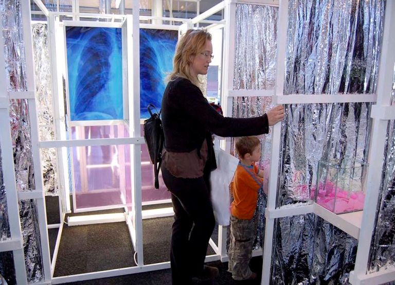 Environmental Art Installation by artist Wendy Hardie R-evolving Door London 2007 on the symbiotic relationship between lungs and trees