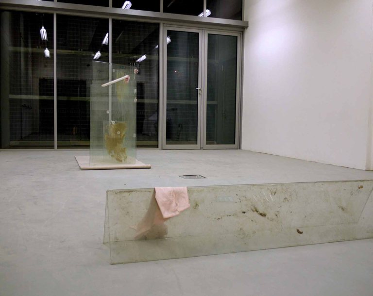 Wendy Hardie Untitled Works Toughened Glass, Silk, Silicon, Timber, Clay Slip, Dirt, Earth, Lichen, Cellotape, Carpet. 2012 e